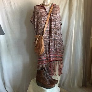 Free People hooded long  sweater vest size M